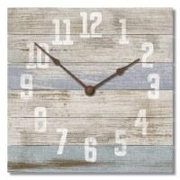 "12"" Square Distressed White Finish and Blue Stripe Clock"