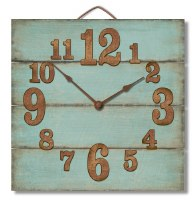 "12"" Square Teal and Rust Clock"
