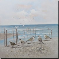 "40"" Square Five Birds On Beach Canvas"
