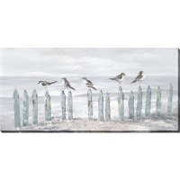 "28"" x 60"" Five Birds On Fence Canvas"