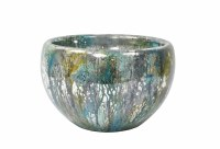 """12"""" Round Blue On Silver Wishing Well Glass Bowl"""