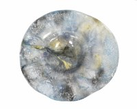"18"" Round Blue and Gray Tibetan Sky Ruffle Bowl"