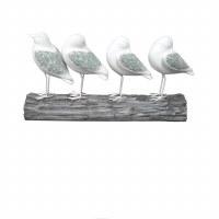"10"" 4 White Mosaic Birds On Log"