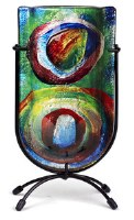 "9"" Multicolor Circles Glass Vase On Black Stand"
