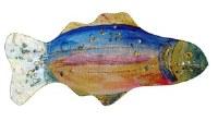 "18"" Rainbow Glass Fish Plate"