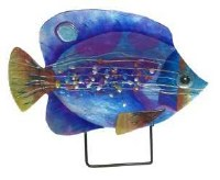 """18"""" Blue Fish Glass Platter With Metal Stand"""