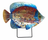 """18"""" Multicolored Dotted Fish Glas Platter With Metal Stand"""