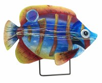 """18"""" Gold Stripped Fish Glass Platter With Metal Stand"""