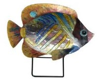 """18"""" Blue and Gold Stripped Fish Glass Platter With Metal Stand"""
