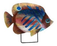 """18"""" Blue Stripped Fish Glass Platter With Metal Stand"""