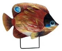 """18"""" Gold and Red Fish Glass Platter With Metal Stand"""