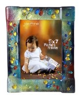 "5"" x 7"" Multicolor Dots On Multicolor Glass Frame"