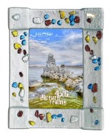 """4"""" x 6"""" Multicolor Dots On Silver Glass Frame"""