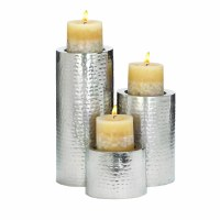 Set Of Three Silver Metal Pillar Candle Holders