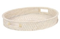 """20"""" Round Natural and White Rattan Tray"""