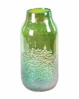 "17"" Green Iridescent Textured Glass Vase"