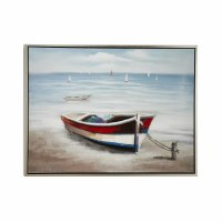 "35"" x 47"" Red, White and Blue Rowboat Canvas Framed"