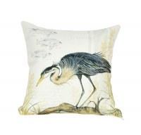 """18"""" Square Heron On Log Pillow"""