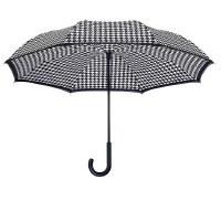Houndstooth Stick Reverse Umbrella