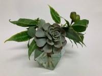 "10"" Faux Succulent With Eucalyptus and Aqua Glass Vase"