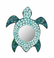 "11"" Blue Mosaic Turtle Mirror"