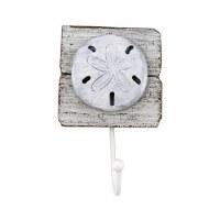 Single White Washed Sand Dollar Hook