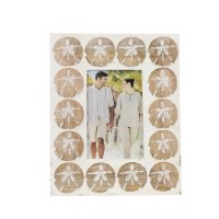 """4"""" x 6"""" White Wood and Brown Sanddollar Wooden Frame"""