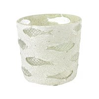 """6"""" White and Clear Fish Glass Votive"""