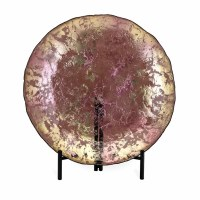 "20"" Round Rose Gold Glass Platter With Stand"