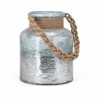 "12"" Aqua and Distressed Silver Finish Lantern With Jute Twine Handle"