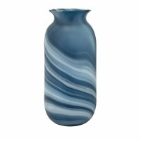 """16"""" Blue and White Stripped Glass Vase"""