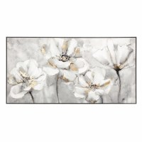 "60"" x 31"" White and Gold Flowers Framed Canvas"