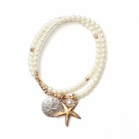 Set of 2 Pearl and Gold Starfish Bracelet