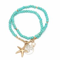 Set of 2 Torquoise and Gold Starfish Bracelet