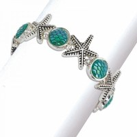 Distressed Silver Finish Starfish and Aqua Scales Bracelet