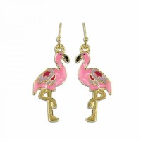 Gold and Pink Flamingo Earrings