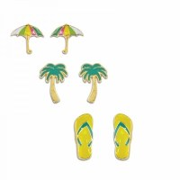 Set Of 3 Multicolored Gold Flip Flops Palm and Umbrella Earrings