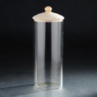 "10"" Clear Round Canister With Wooden Lid"