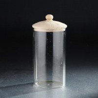 "8"" Clear Round Canister With Wooden Lid"