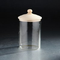 "6"" Clear Round Canister With Wooden Lid"