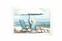 """52"""" x 37"""" Two Chairs With Hat Beach Scene Framed Gel Print"""