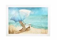 "52"" x 37"" Chair With Umbrella Beach Scene Framed Gel Print"