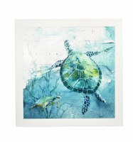 """40"""" Square Turtle With Baby Framed Gel Print"""
