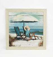 """26"""" Square Two Chairs and Hat Beach Scene Framed Gel Print"""
