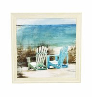 """26"""" Square Blue and White Chairs Beach Scene Framed Gel Print"""