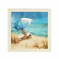 "36"" Square Chair and Umbrella Beach Scene Framed Gel Print"