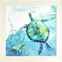 """36"""" Square Turtle with Fish Gel Framed"""