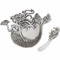 "8"" Silver Mermaid Dip Bowl With Spreader"