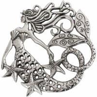 """7"""" Silver Mermaid Trivet"""