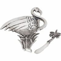 "8"" Silver Flamingo Dip Bowl With Spreader"
